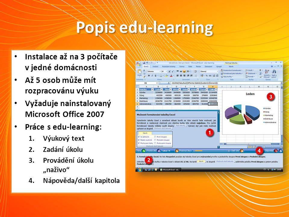Popis edu-learning Instalace až na 3 počítače v jedné domácnosti Až 5 osob může mít rozpracovánu výuku Vyžaduje nainstalovaný Microsoft Office 2007 Pr