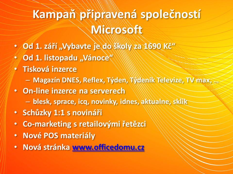 """Kampaň připravená společností Microsoft Od 1. září """"Vybavte je do školy za 1690 Kč"""" Od 1. listopadu """"Vánoce"""" Tisková inzerce – Magazín DNES, Reflex, T"""