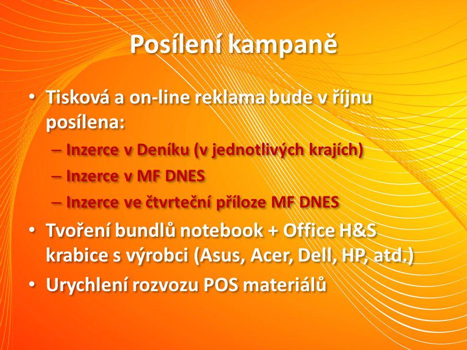 Posílení kampaně Tisková a on-line reklama bude v říjnu posílena: – Inzerce v Deníku (v jednotlivých krajích) – Inzerce v MF DNES – Inzerce ve čtvrteč