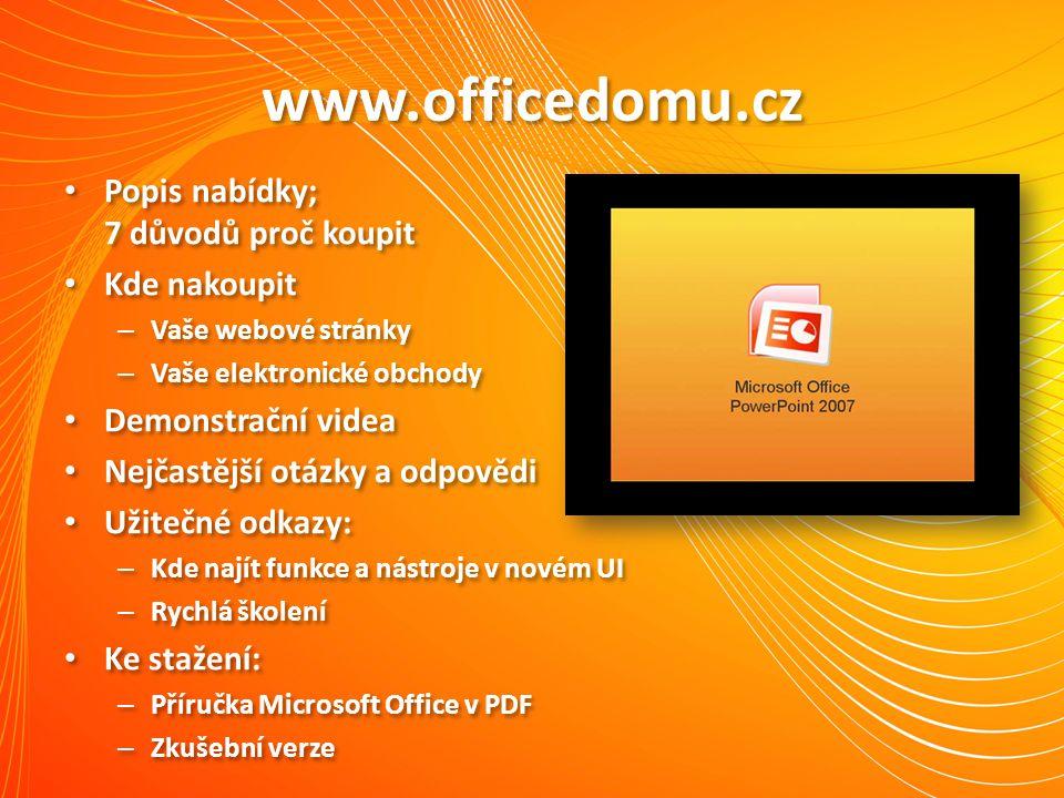 www.officedomu.cz Popis nabídky; 7 důvodů proč koupit Kde nakoupit – Vaše webové stránky – Vaše elektronické obchody Demonstrační videa Nejčastější ot