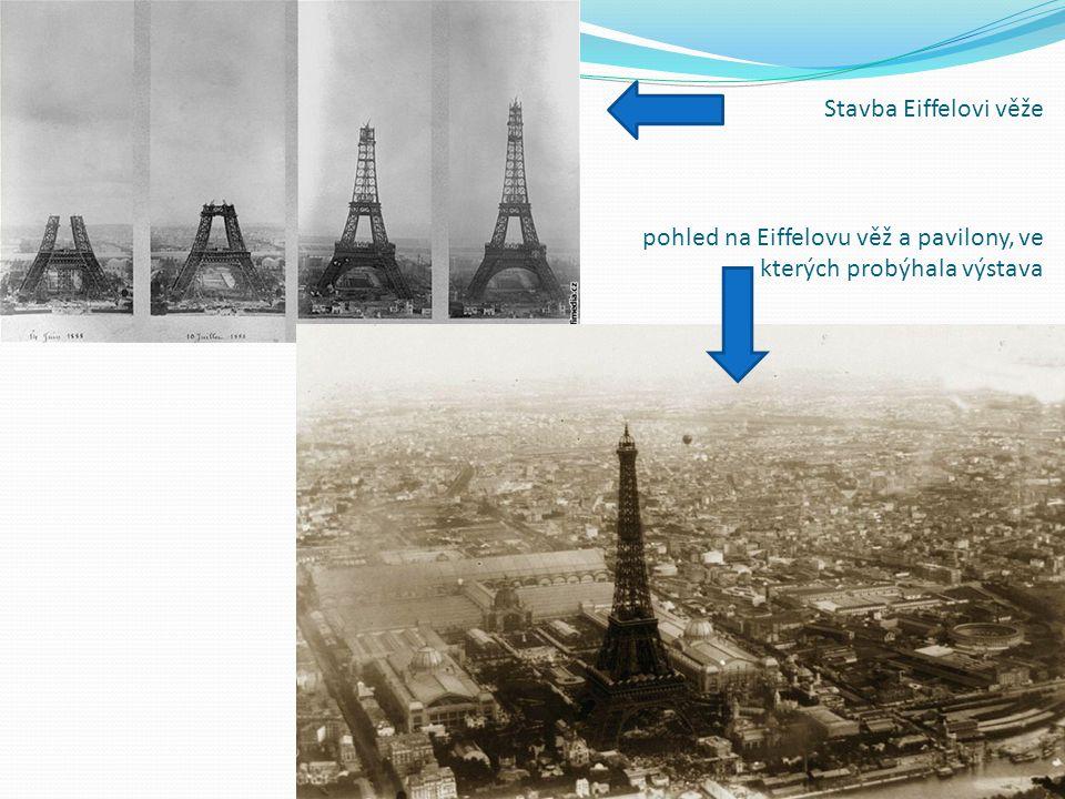 Stavba Eiffelovi věže pohled na Eiffelovu věž a pavilony, ve kterých probýhala výstava