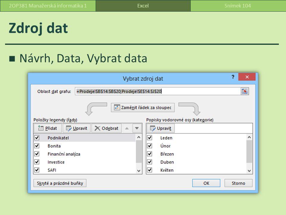 Zdroj dat Návrh, Data, Vybrat data ExcelSnímek 1042OP381 Manažerská informatika 1