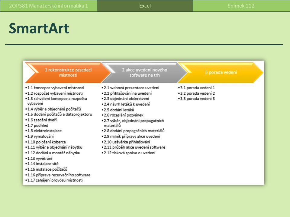 SmartArt ExcelSnímek 1122OP381 Manažerská informatika 1