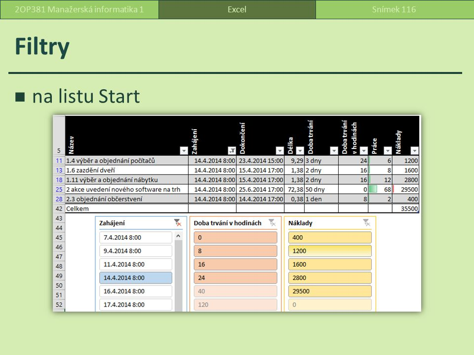 Filtry na listu Start ExcelSnímek 1162OP381 Manažerská informatika 1