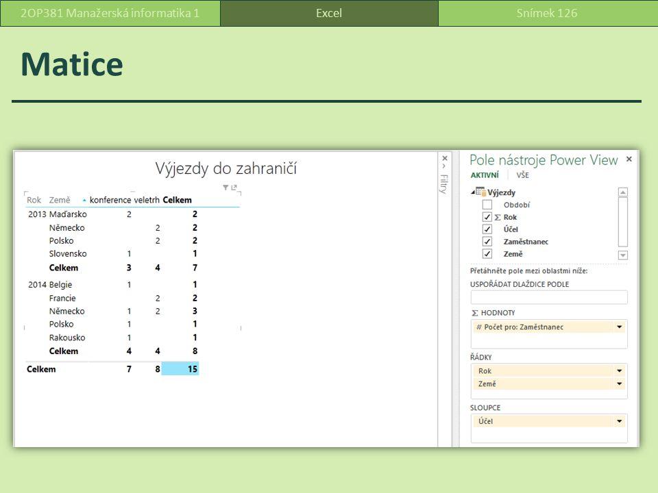 Matice ExcelSnímek 1262OP381 Manažerská informatika 1