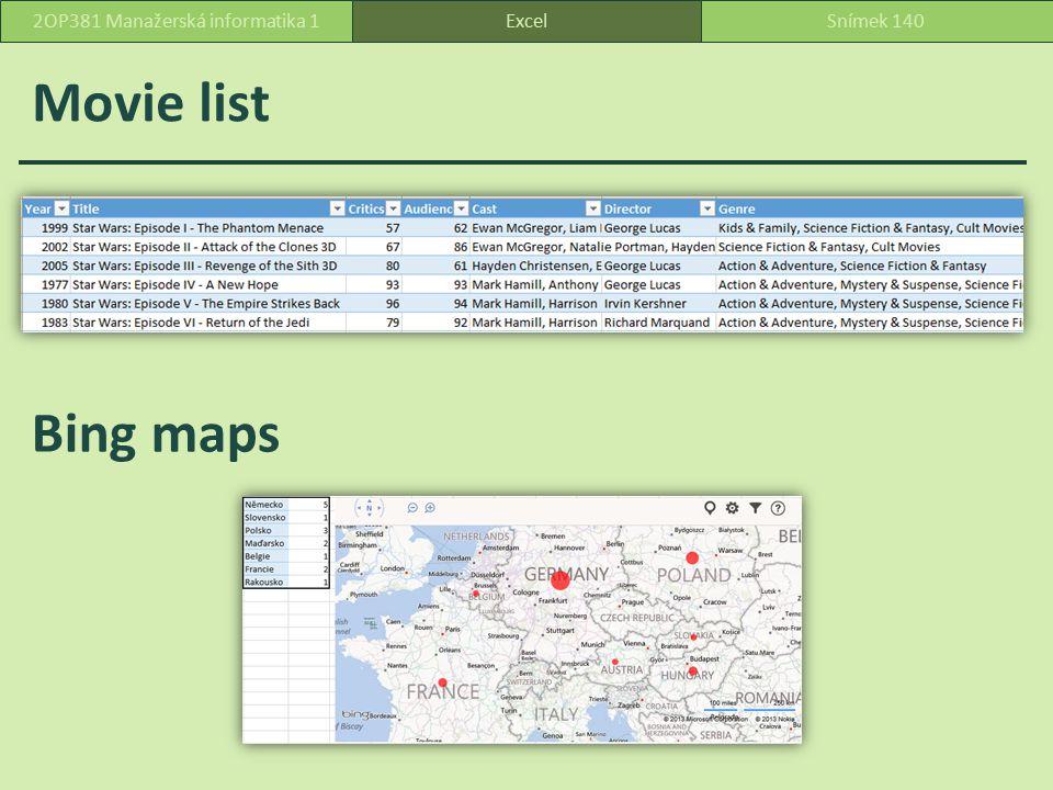 Movie list ExcelSnímek 1402OP381 Manažerská informatika 1 Bing maps