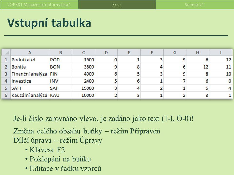 Vstupní tabulka ExcelSnímek 212OP381 Manažerská informatika 1 Je-li číslo zarovnáno vlevo, je zadáno jako text (1-l, O-0).