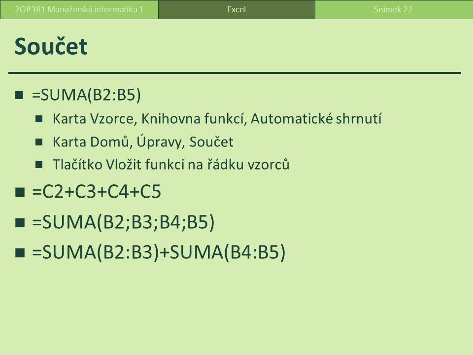 Průměr karta Vzorce, tlačítko Automatické shrnutí, Průměr ExcelSnímek 232OP381 Manažerská informatika 1 0 22 44 průměr = (0 + 2 + 4)/3 = 2průměr = (2 + 4 )/2 = 3 buňky s 0 zahrne do průměru prázdné buňky nezahrne do průměru