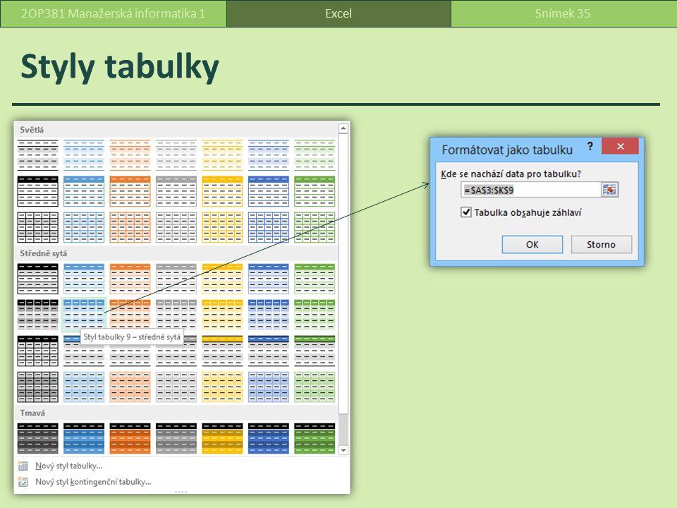 Tabulka a její možnosti ExcelSnímek 362OP381 Manažerská informatika 1 Ceny programů doplníme o peněžní jednotku – účetnický číselný formát bez desetinných míst