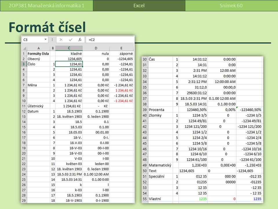 Formát čísel ExcelSnímek 602OP381 Manažerská informatika 1