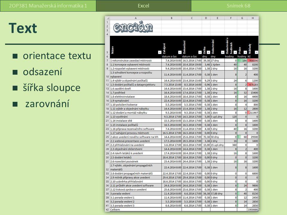 Řazení Domů, Úpravy, Seřadit a filtrovat Seřadit od A do Z Seřadit od nejmenšího k největšímu Seřadit od nejstaršího k nejnovějšímu ExcelSnímek 692OP381 Manažerská informatika 1