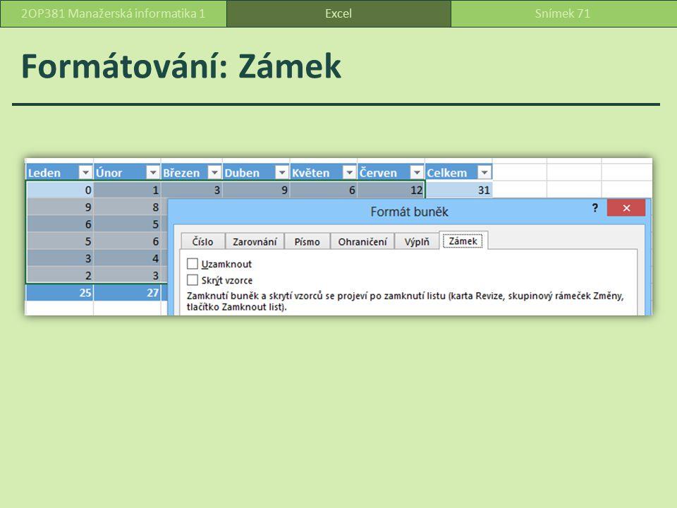 Formátování: Zámek ExcelSnímek 712OP381 Manažerská informatika 1