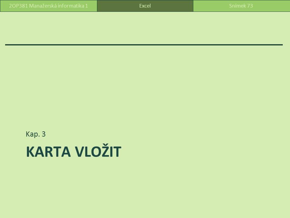 Vložení - karta ExcelSnímek 742OP381 Manažerská informatika 1