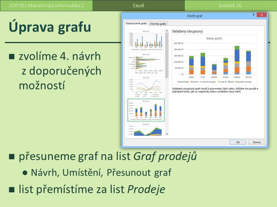 Úprava grafu chtěli bychom zaměnit programy a měsíce Návrh, Data, Zaměnit řádek za sloupec programy … datové řady měsíce … kategorie dílky sloupců … datový bod ExcelSnímek 772OP381 Manažerská informatika 1