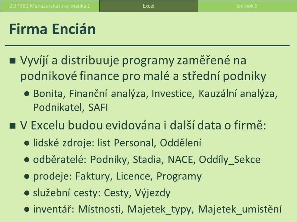 Firma Encián Vyvíjí a distribuuje programy zaměřené na podnikové finance pro malé a střední podniky Bonita, Finanční analýza, Investice, Kauzální analýza, Podnikatel, SAFI V Excelu budou evidována i další data o firmě: lidské zdroje: list Personal, Oddělení odběratelé: Podniky, Stadia, NACE, Oddíly_Sekce prodeje: Faktury, Licence, Programy služební cesty: Cesty, Výjezdy inventář: Místnosti, Majetek_typy, Majetek_umístění ExcelSnímek 92OP381 Manažerská informatika 1
