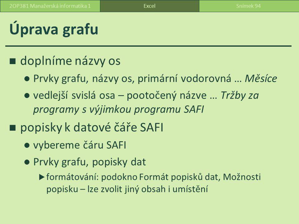 Úprava grafu doplníme názvy os Prvky grafu, názvy os, primární vodorovná … Měsíce vedlejší svislá osa – pootočený názve … Tržby za programy s výjimkou programu SAFI popisky k datové čáře SAFI vybereme čáru SAFI Prvky grafu, popisky dat  formátování: podokno Formát popisků dat, Možnosti popisku – lze zvolit jiný obsah i umístění ExcelSnímek 942OP381 Manažerská informatika 1