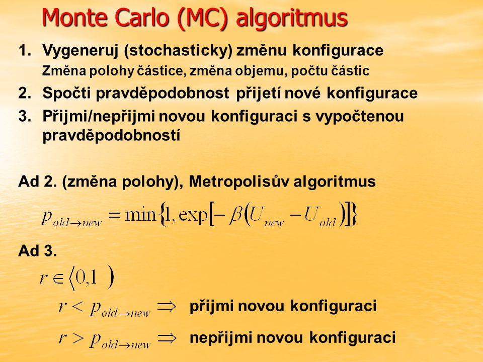 Monte Carlo (MC) algoritmus 1.Vygeneruj (stochasticky) změnu konfigurace Změna polohy částice, změna objemu, počtu částic 2.Spočti pravděpodobnost přijetí nové konfigurace 3.Přijmi/nepřijmi novou konfiguraci s vypočtenou pravděpodobností Ad 2.