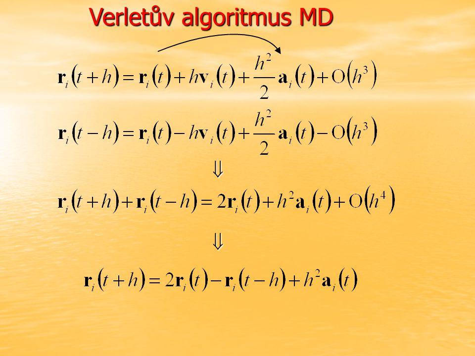 Verletův algoritmus MD  