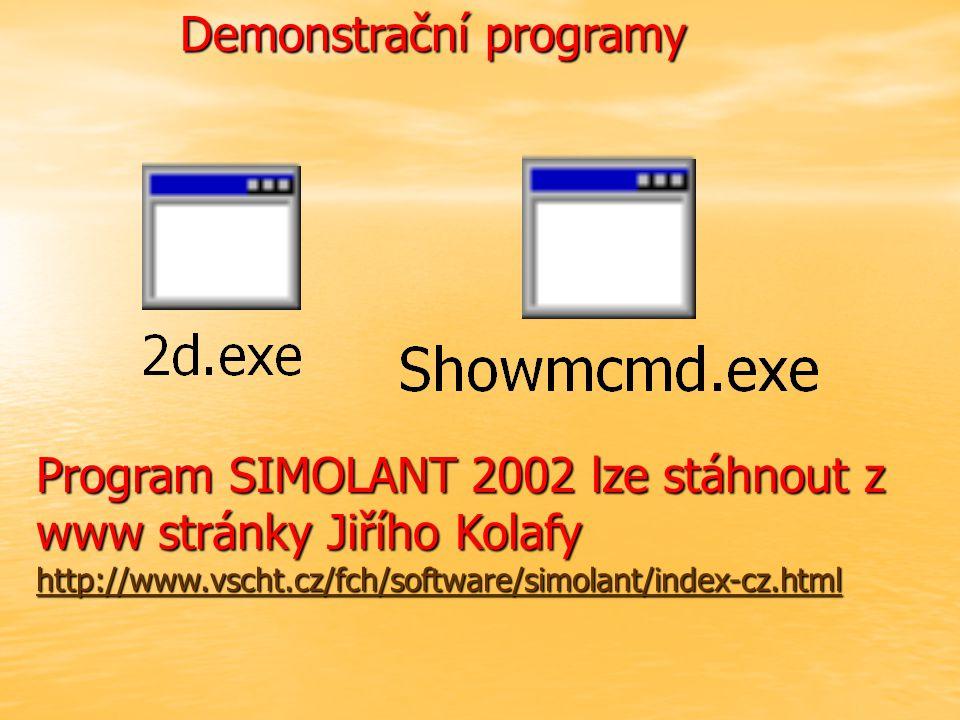 Demonstrační programy Program SIMOLANT 2002 lze stáhnout z www stránky Jiřího Kolafy http://www.vscht.cz/fch/software/simolant/index-cz.html http://www.vscht.cz/fch/software/simolant/index-cz.html