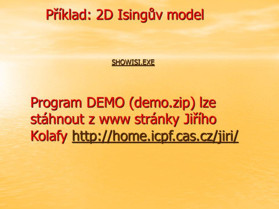 Příklad: 2D Isingův model SHOWISI.EXE Program DEMO (demo.zip) lze stáhnout z www stránky Jiřího Kolafy http://home.icpf.cas.cz/jiri/ http://home.icpf.cas.cz/jiri/