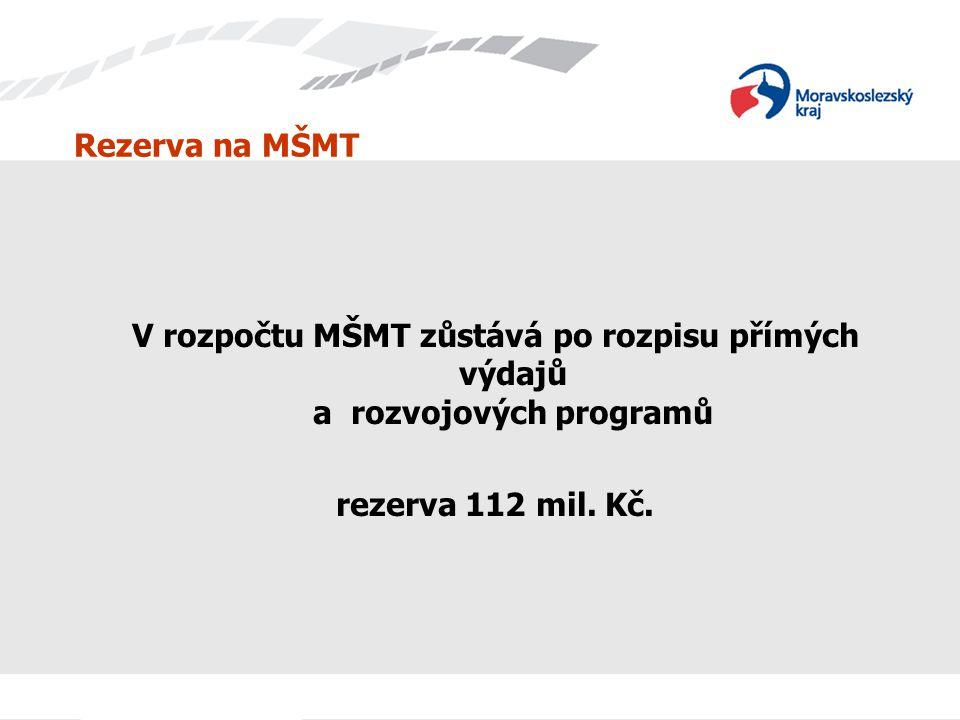 Rezerva na MŠMT V rozpočtu MŠMT zůstává po rozpisu přímých výdajů a rozvojových programů rezerva 112 mil.
