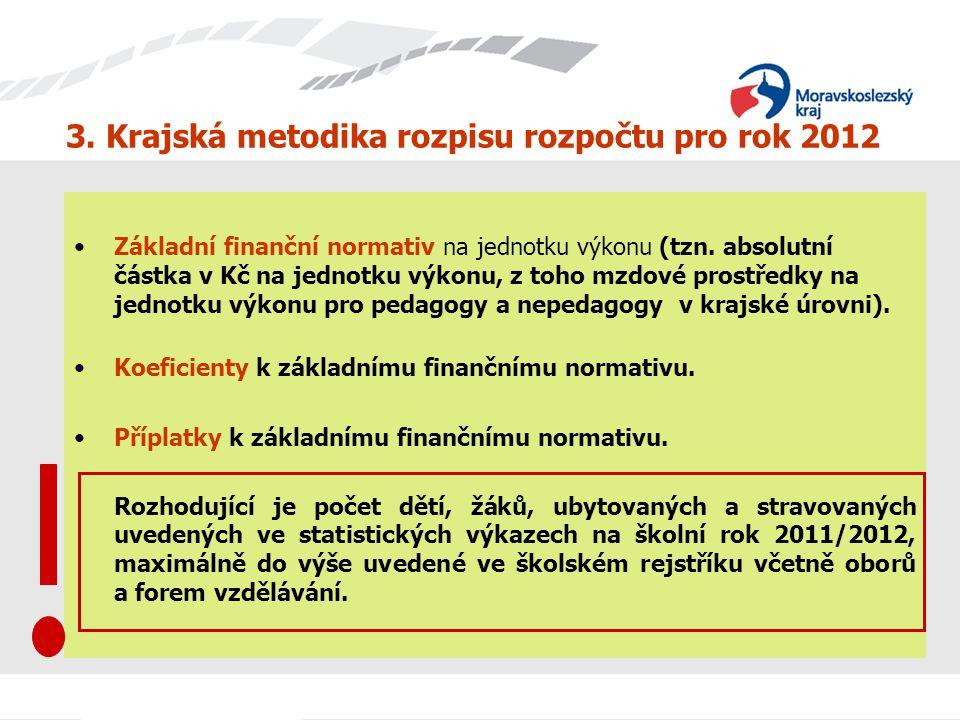 3. Krajská metodika rozpisu rozpočtu pro rok 2012 Základní finanční normativ na jednotku výkonu (tzn. absolutní částka v Kč na jednotku výkonu, z toho