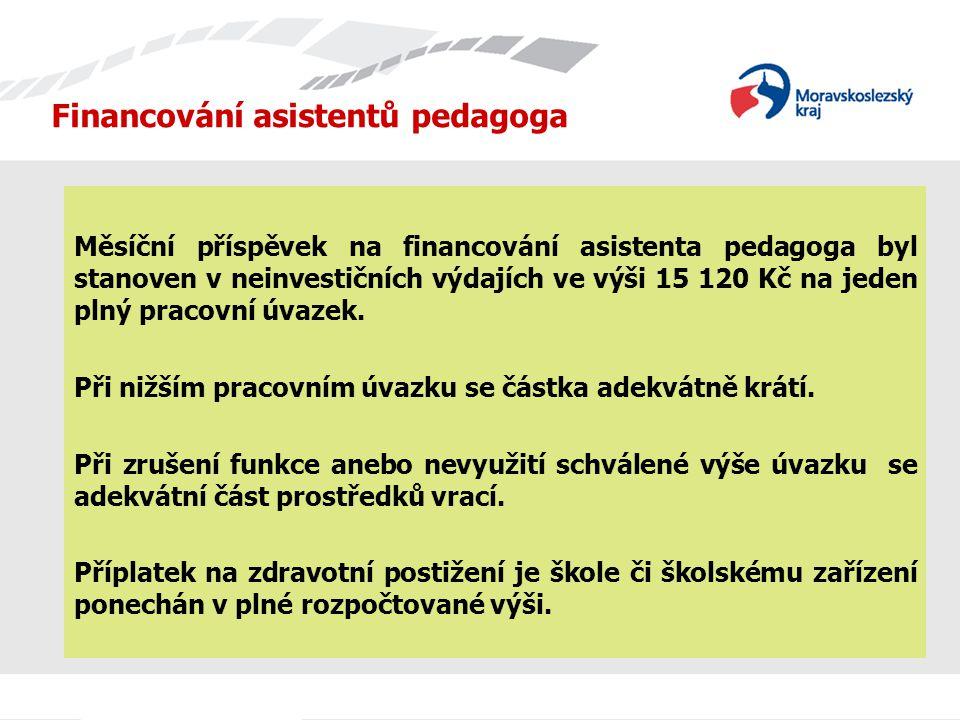 Financování asistentů pedagoga Měsíční příspěvek na financování asistenta pedagoga byl stanoven v neinvestičních výdajích ve výši 15 120 Kč na jeden plný pracovní úvazek.