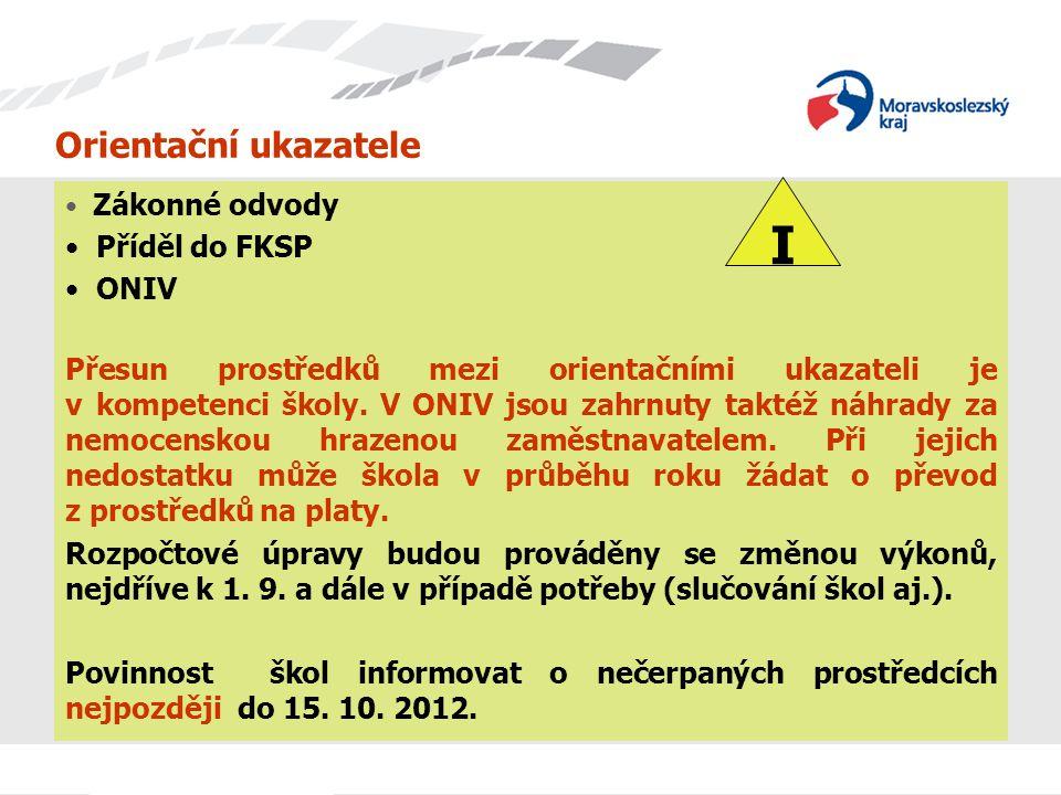 Orientační ukazatele Zákonné odvody Příděl do FKSP ONIV Přesun prostředků mezi orientačními ukazateli je v kompetenci školy.