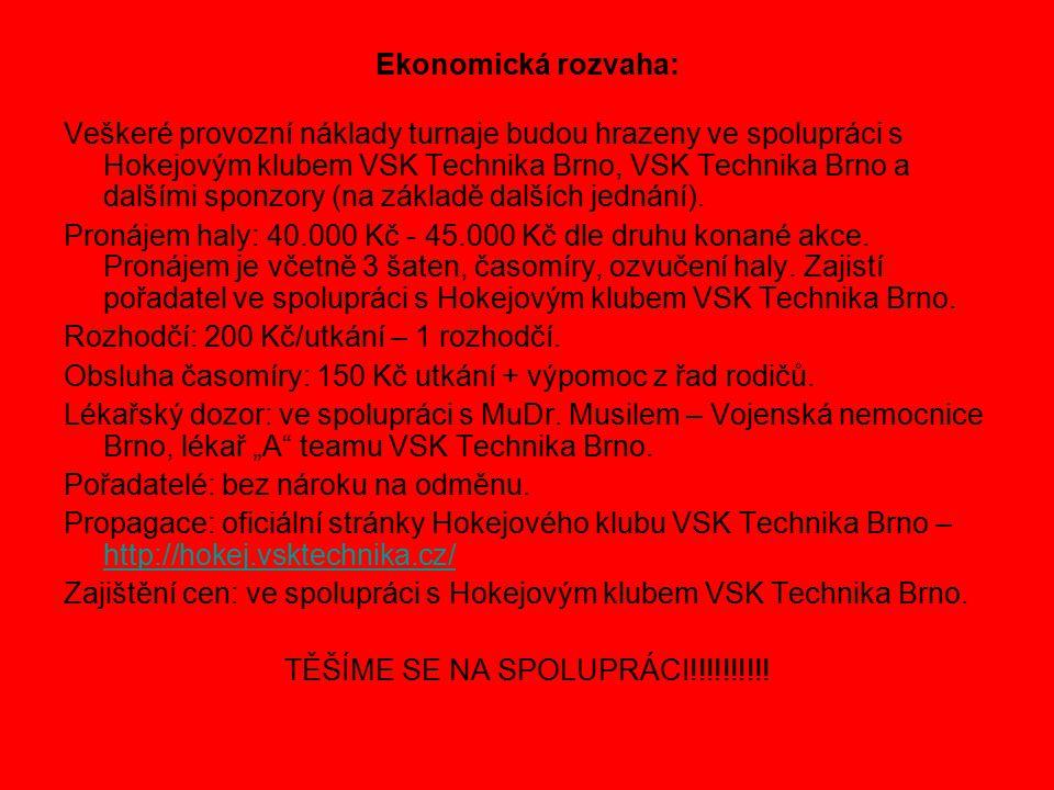 Ekonomická rozvaha: Veškeré provozní náklady turnaje budou hrazeny ve spolupráci s Hokejovým klubem VSK Technika Brno, VSK Technika Brno a dalšími sponzory (na základě dalších jednání).