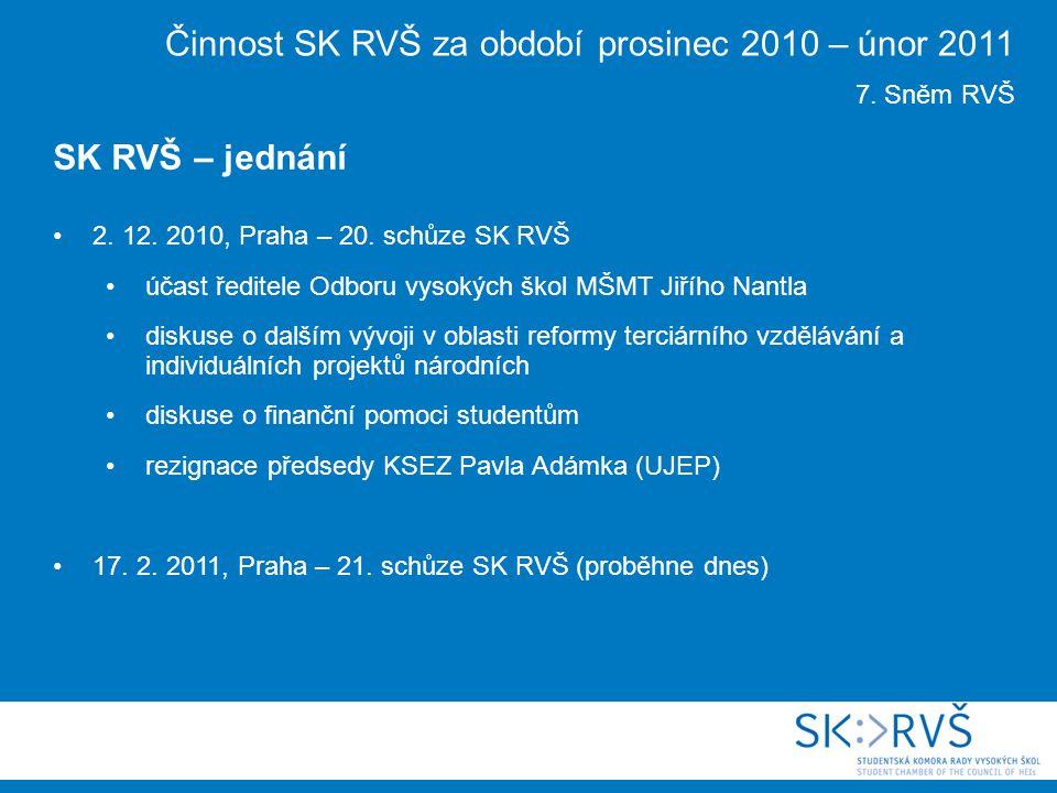 2. 12. 2010, Praha – 20. schůze SK RVŠ účast ředitele Odboru vysokých škol MŠMT Jiřího Nantla diskuse o dalším vývoji v oblasti reformy terciárního vz