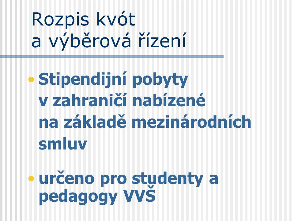 Rozpis kvót a výběrová řízení Stipendijní pobyty v zahraničí nabízené na základě mezinárodních smluv určeno pro studenty a pedagogy VVŠ