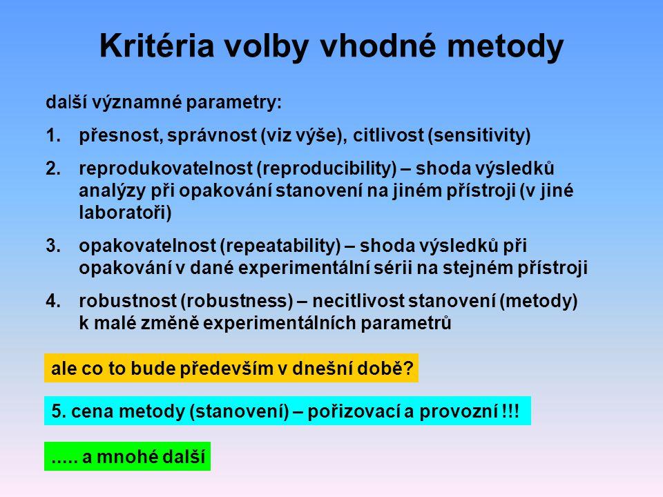 Kritéria volby vhodné metody další významné parametry: 1.přesnost, správnost (viz výše), citlivost (sensitivity) 2.reprodukovatelnost (reproducibility) – shoda výsledků analýzy při opakování stanovení na jiném přístroji (v jiné laboratoři) 3.opakovatelnost (repeatability) – shoda výsledků při opakování v dané experimentální sérii na stejném přístroji 4.robustnost (robustness) – necitlivost stanovení (metody) k malé změně experimentálních parametrů ale co to bude především v dnešní době.
