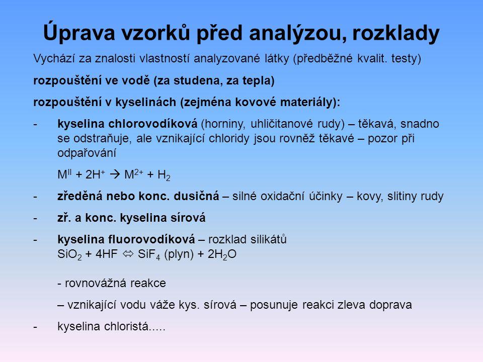 Úprava vzorků před analýzou, rozklady Vychází za znalosti vlastností analyzované látky (předběžné kvalit. testy) rozpouštění ve vodě (za studena, za t