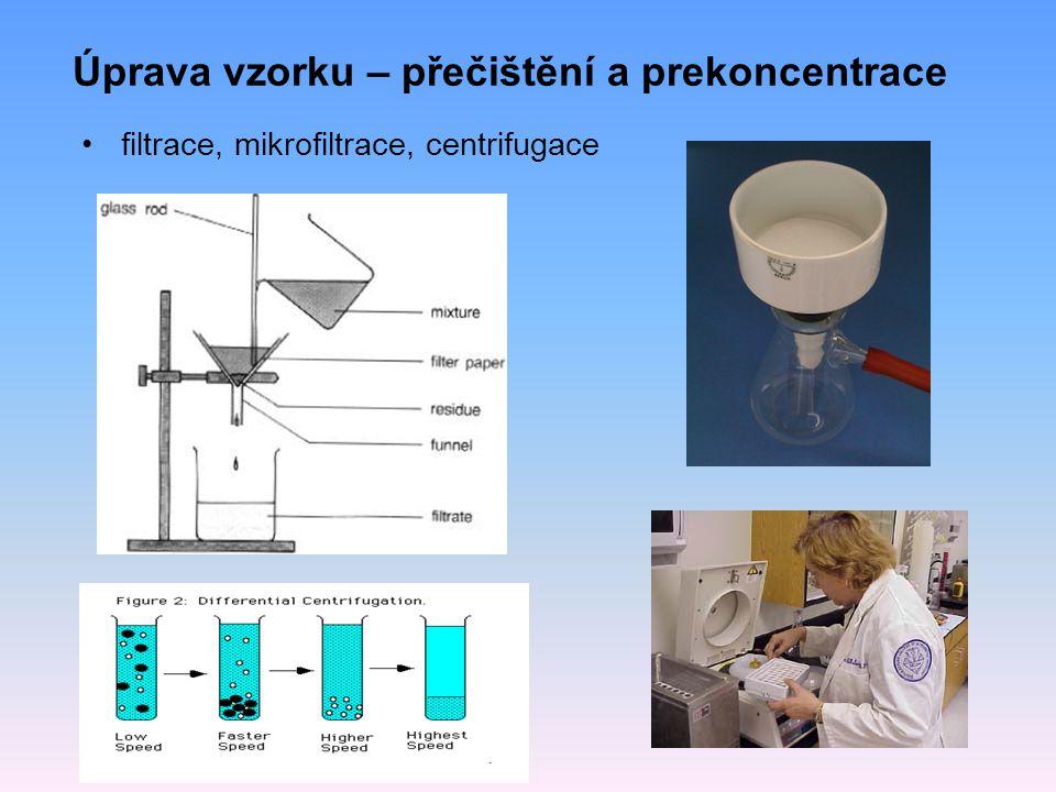 Úprava vzorku – přečištění a prekoncentrace filtrace, mikrofiltrace, centrifugace