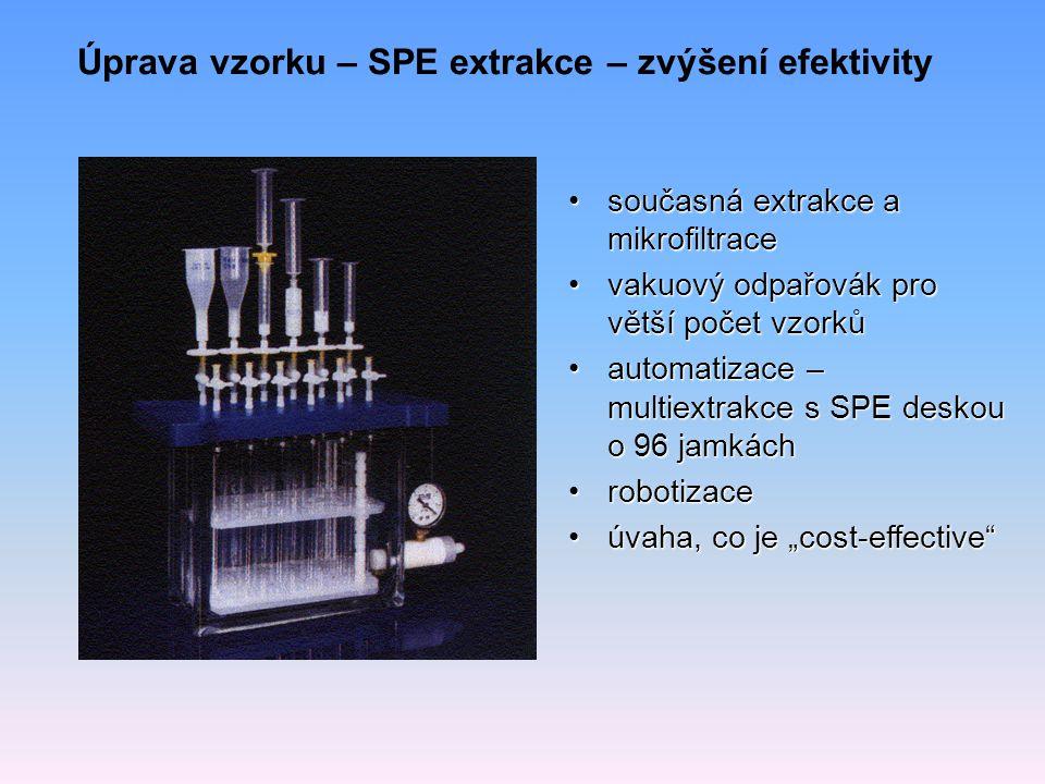"""Úprava vzorku – SPE extrakce – zvýšení efektivity současná extrakce a mikrofiltracesoučasná extrakce a mikrofiltrace vakuový odpařovák pro větší počet vzorkůvakuový odpařovák pro větší počet vzorků automatizace – multiextrakce s SPE deskou o 96 jamkáchautomatizace – multiextrakce s SPE deskou o 96 jamkách robotizacerobotizace úvaha, co je """"cost-effective úvaha, co je """"cost-effective"""