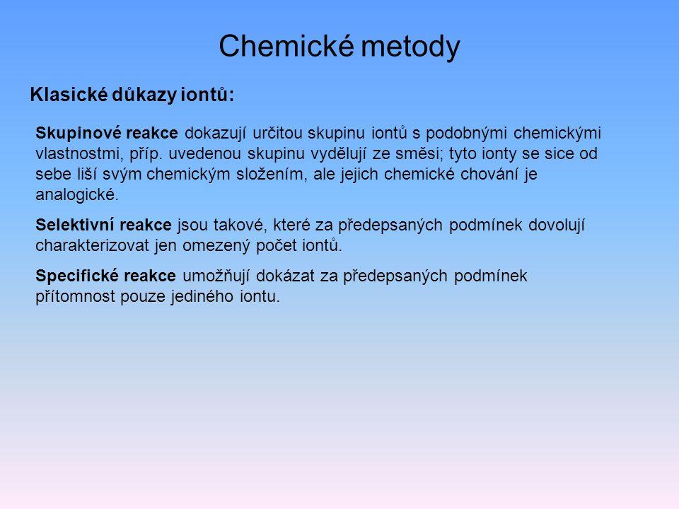 Chemické metody Klasické důkazy iontů: Skupinové reakce dokazují určitou skupinu iontů s podobnými chemickými vlastnostmi, příp.