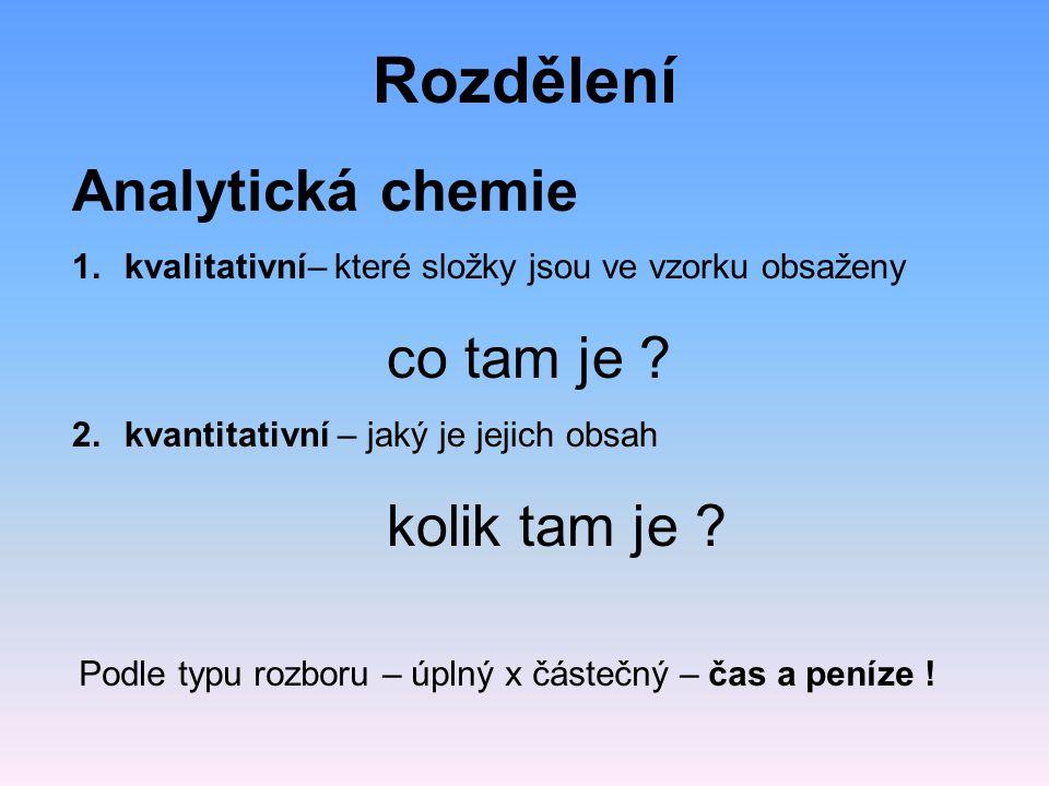 Rozdělení Analytická chemie 1.kvalitativní– které složky jsou ve vzorku obsaženy co tam je .