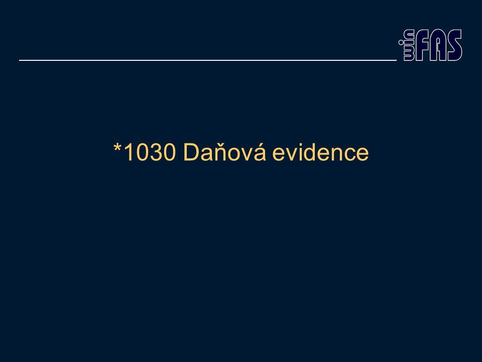 *1030 Daňová evidence
