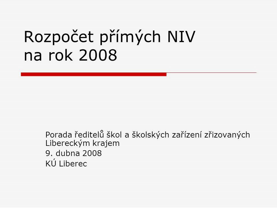 Rozpočet přímých NIV na rok 2008 Porada ředitelů škol a školských zařízení zřizovaných Libereckým krajem 9.