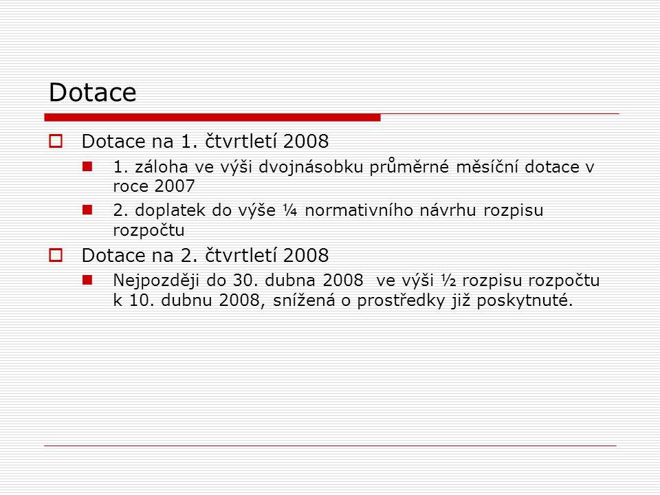 Dotace  Dotace na 1. čtvrtletí 2008 1.