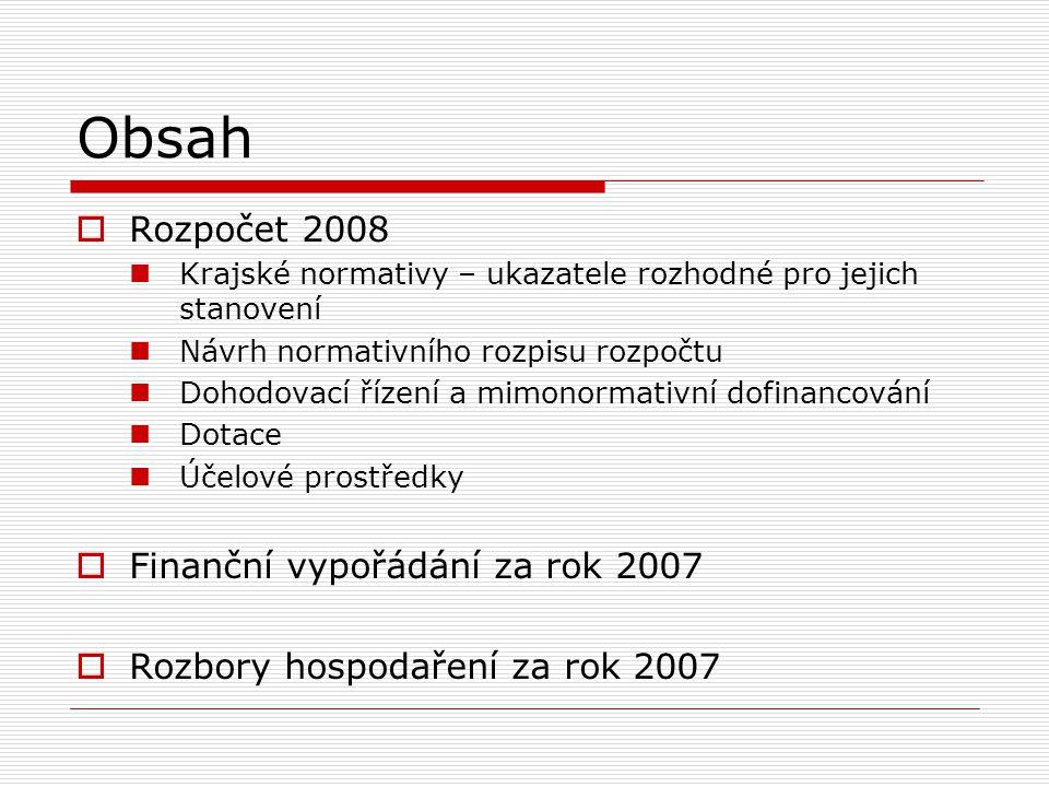 Obsah  Rozpočet 2008 Krajské normativy – ukazatele rozhodné pro jejich stanovení Návrh normativního rozpisu rozpočtu Dohodovací řízení a mimonormativní dofinancování Dotace Účelové prostředky  Finanční vypořádání za rok 2007  Rozbory hospodaření za rok 2007