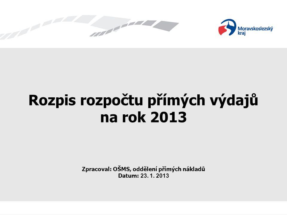 Rozpis rozpočtu přímých výdajů na rok 2013 Zpracoval: OŠMS, oddělení přímých nákladů Datum: 23. 1. 2013