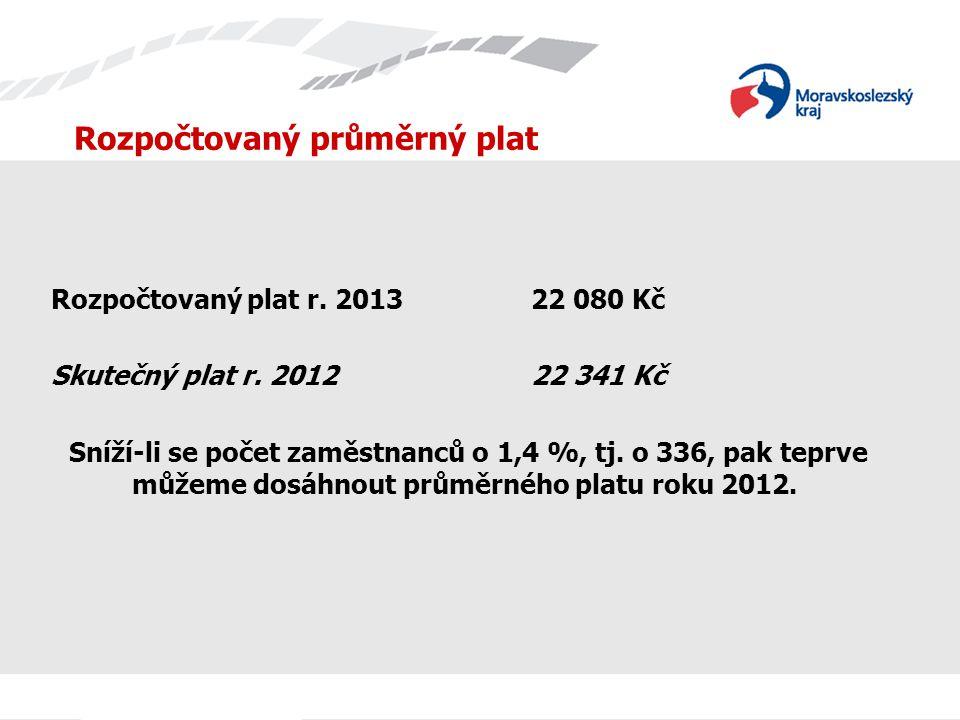 Rozpočtovaný průměrný plat Rozpočtovaný plat r. 201322 080 Kč Skutečný plat r. 201222 341 Kč Sníží-li se počet zaměstnanců o 1,4 %, tj. o 336, pak tep