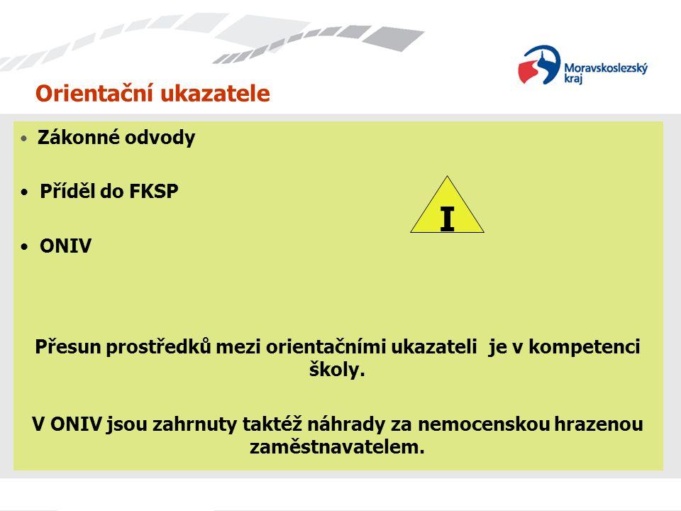 Orientační ukazatele Zákonné odvody Příděl do FKSP ONIV Přesun prostředků mezi orientačními ukazateli je v kompetenci školy. V ONIV jsou zahrnuty takt