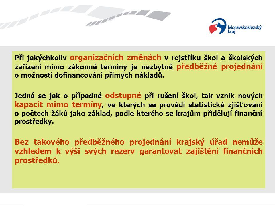 Při jakýchkoliv organizačních změnách v rejstříku škol a školských zařízení mimo zákonné termíny je nezbytné předběžné projednání o možnosti dofinanco