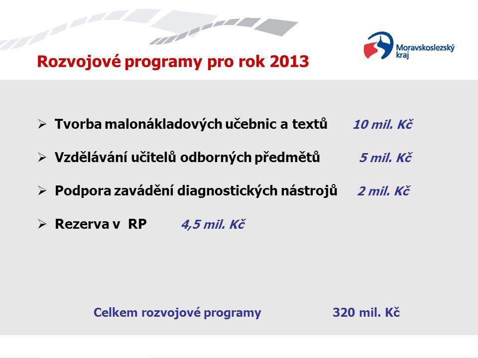 Rozvojové programy pro rok 2013  Tvorba malonákladových učebnic a textů 10 mil. Kč  Vzdělávání učitelů odborných předmětů 5 mil. Kč  Podpora zavádě