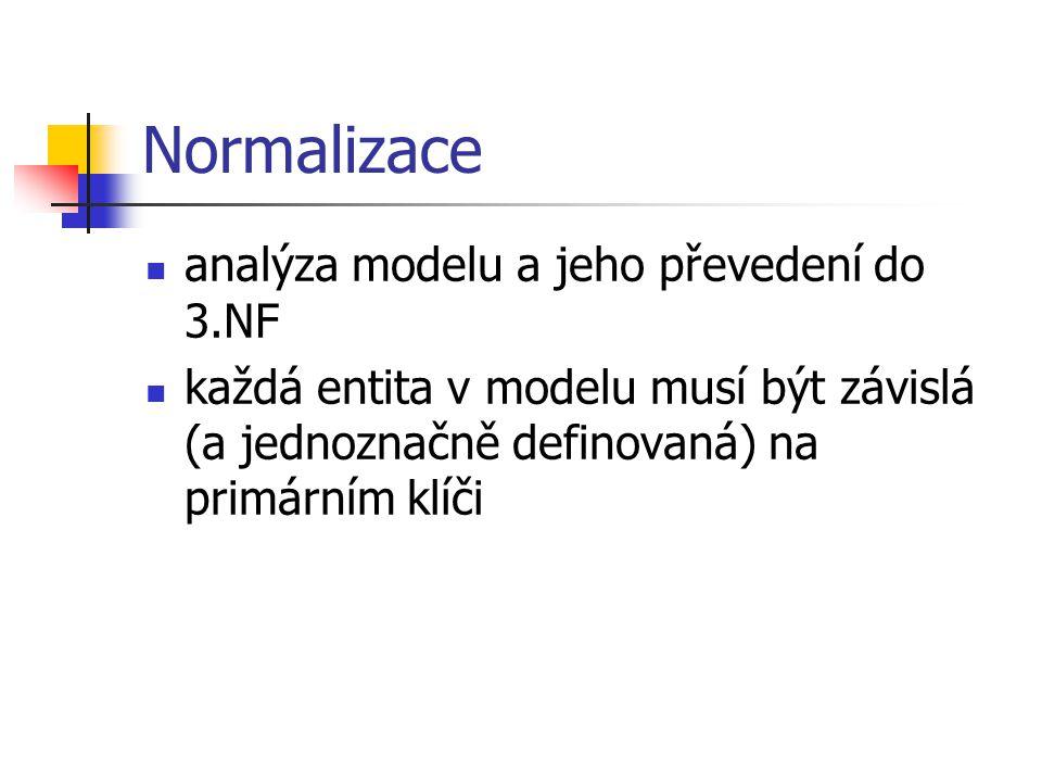 Normalizace analýza modelu a jeho převedení do 3.NF každá entita v modelu musí být závislá (a jednoznačně definovaná) na primárním klíči