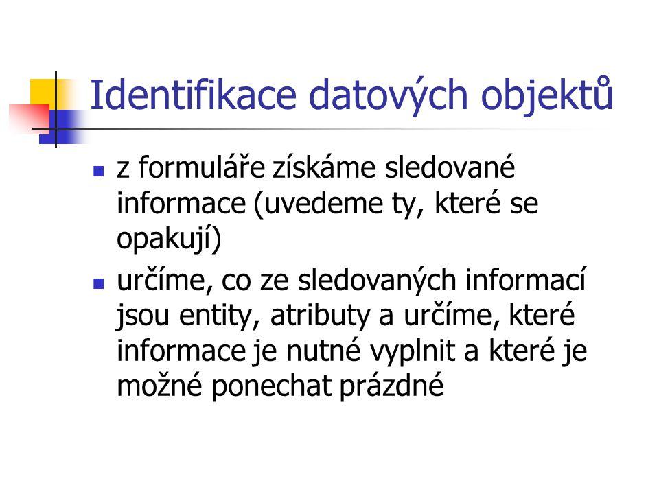 Identifikace datových objektů z formuláře získáme sledované informace (uvedeme ty, které se opakují) určíme, co ze sledovaných informací jsou entity,