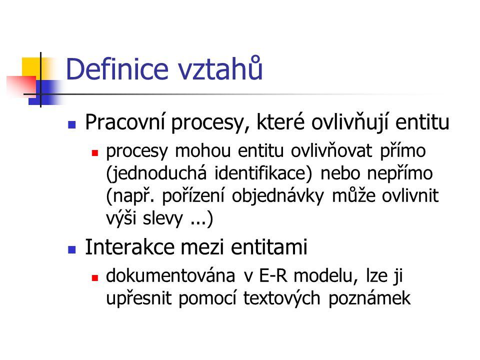 """Definice vztahů Aplikační pravidla a omezení základní omezení = jednoznačná identifikace entity podmínky typu """"atributy Příjmení zákazníka a Název firmy nemůžou být zároveň prázdné Atributy a jejich obory hodnot (domény) jedním atributem musí být primární klíč, další vyplývají z vlastností sledované entity"""