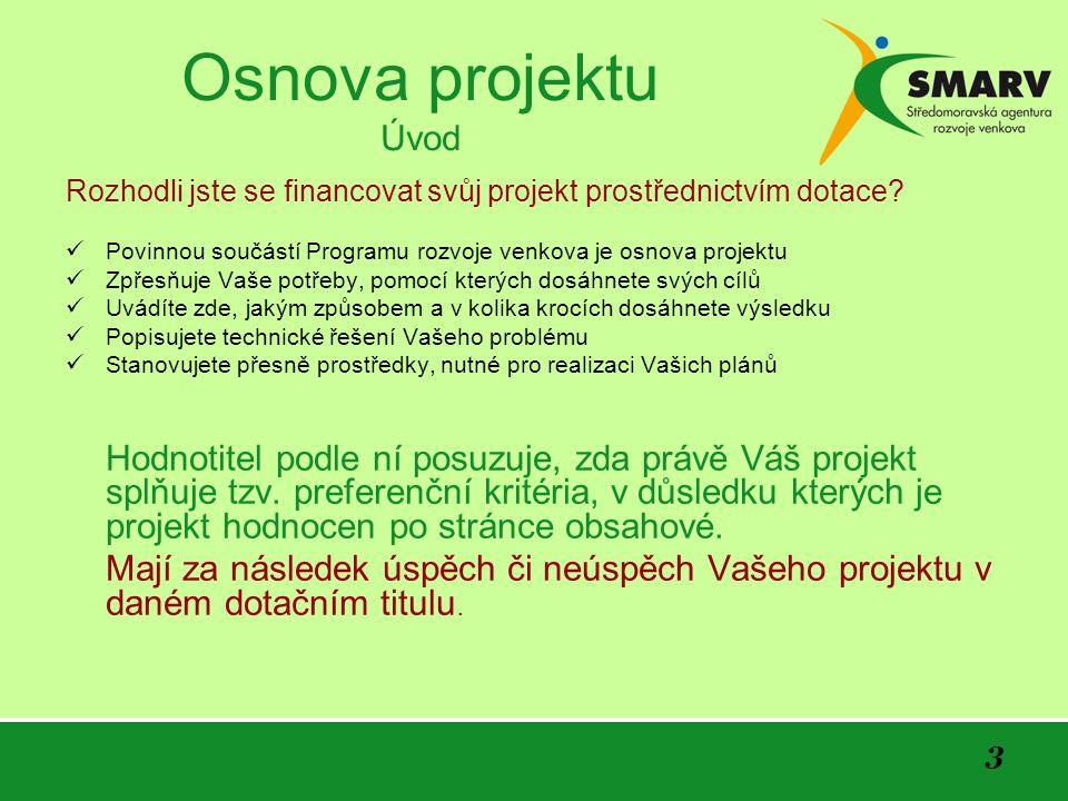 3 Osnova projektu Úvod Rozhodli jste se financovat svůj projekt prostřednictvím dotace.